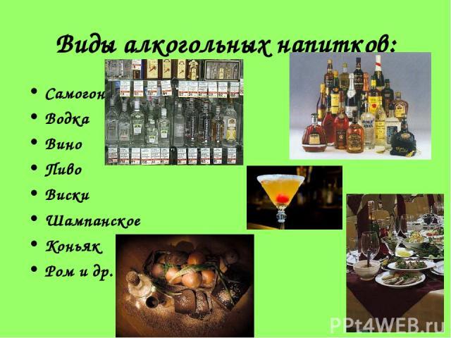 Виды алкогольных напитков: Самогон Водка Вино Пиво Виски Шампанское Коньяк Ром и др.