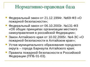 Нормативно-правовая база Федеральный закон от 21.12.1994г. №69-ФЗ «О пожарной бе