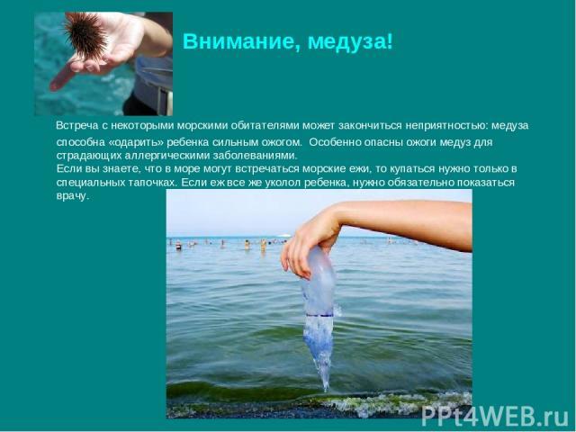 Внимание, медуза! Встреча с некоторыми морскими обитателями может закончиться неприятностью: медуза способна «одарить» ребенка сильным ожогом. Особенно опасны ожоги медуз для страдающих аллергическими заболеваниями. Если вы знаете, что в море могут …