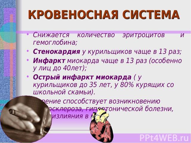 КРОВЕНОСНАЯ СИСТЕМА Снижается количество эритроцитов и гемоглобина; Стенокардия у курильщиков чаще в 13 раз; Инфаркт миокарда чаще в 13 раз (особенно у лиц до 40лет); Острый инфаркт миокарда ( у курильщиков до 35 лет, у 80% курящих со школьной скамь…