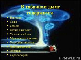 В табачном дыме содержится: Никотин Сажа Смолы Оксид мышьяка Углекислый газ Мура