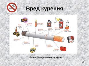 * Вред курения Более 600 ядовитых веществ