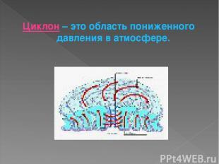 Циклон – это область пониженного давления в атмосфере.