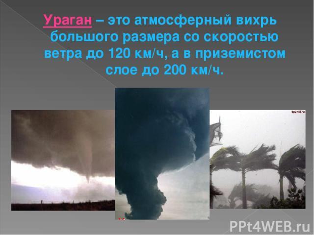 Ураган – это атмосферный вихрь большого размера со скоростью ветра до 120 км/ч, а в приземистом слое до 200 км/ч.