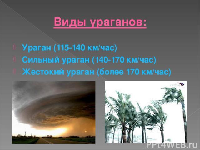 Виды ураганов: Ураган (115-140 км/час) Сильный ураган (140-170 км/час) Жестокий ураган (более 170 км/час)