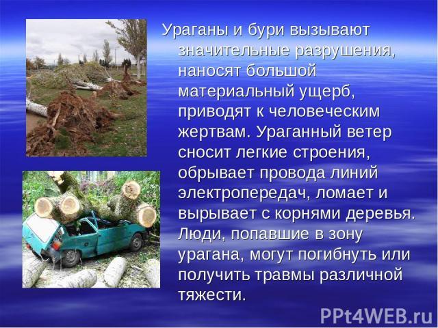 Ураганы и бури вызывают значительные разрушения, наносят большой материальный ущерб, приводят к человеческим жертвам. Ураганный ветер сносит легкие строения, обрывает провода линий электропередач, ломает и вырывает с корнями деревья. Люди, попавшие …