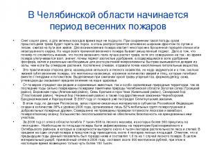 В Челябинской области начинается период весенних пожаров Снег сошел рано, а для