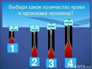Выбери какое количество крови в организме человека? 2 литра 4 литра 6 литров 10