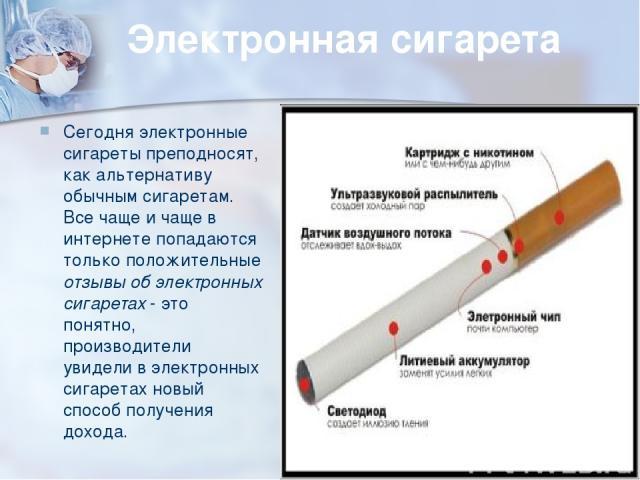 Электронная сигарета Сегодня электронные сигареты преподносят, как альтернативу обычным сигаретам. Все чаще и чаще в интернете попадаются только положительные отзывы об электронных сигаретах - это понятно, производители увидели в электронных сигарет…