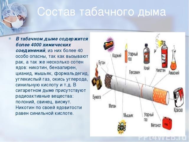 Состав табачного дыма В табачном дыме содержится более 4000 химических соединений, из них более 40 особо опасны, так как вызывают рак, а так же несколько сотен ядов: никотин, бензапирен, цианид, мышьяк, формальдегид, углекислый газ, окись углерода, …