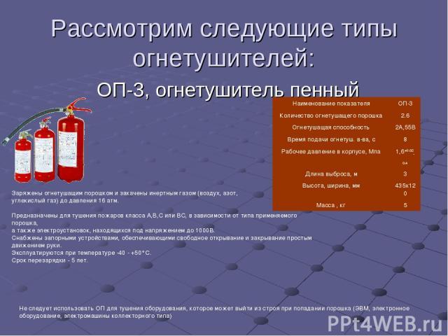 Рассмотрим следующие типы огнетушителей: ОП-3, огнетушитель пенный  Заряжены огнетушащим порошком и закачены инертным газом (воздух, азот, углекислый газ) до давления 16 атм. Предназначены для ту…