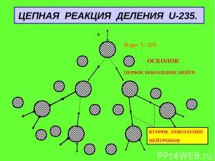 ЦЕПНАЯ РЕАКЦИЯ ДЕЛЕНИЯ U-235. Ядро U-235 ОСКОЛОК ПЕРВОЕ ПОКОЛЕНИЕ НЕЙТР. ВТОРОЕ