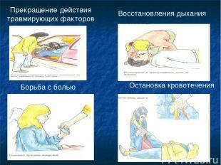 Прекращение действия травмирующих факторов Восстановления дыхания Борьба с болью