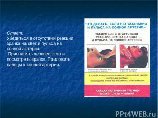 Ответ: Убедиться в отсутствии реакции зрачка на свет и пульса на сонной артерии.