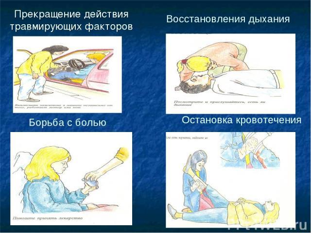 Прекращение действия травмирующих факторов Восстановления дыхания Борьба с болью Остановка кровотечения