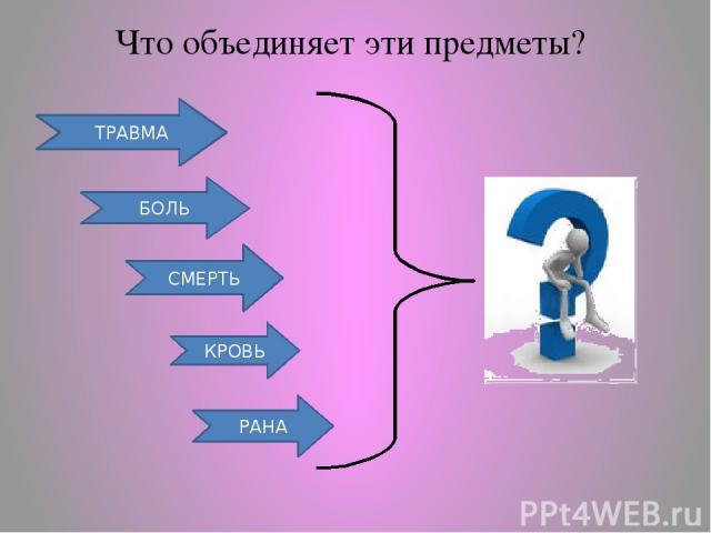 СМЕРТЬ БОЛЬ ТРАВМА Что объединяет эти предметы? КРОВЬ РАНА