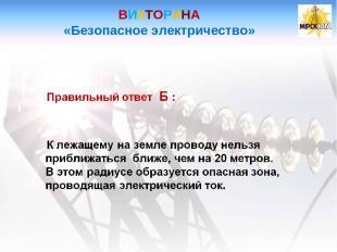 ВИКТОРИНА «Безопасное электричество»