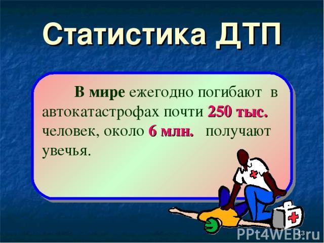 * Статистика ДТП В мире ежегодно погибают в автокатастрофах почти 250 тыс. человек, около 6 млн. получают увечья.