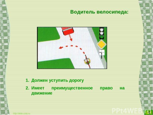 Водитель велосипеда: Должен уступить дорогу Имеет преимущественное право на движение