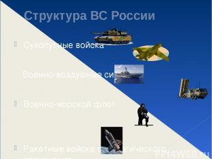 Структура ВС России Сухопутные войска Военно-воздушные силы Военно-морской флот
