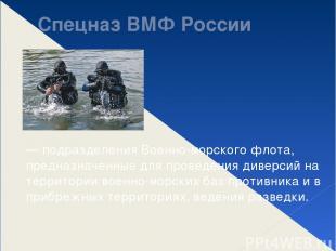 Спецназ ВМФ России — подразделения Военно-морского флота, предназначенные для пр