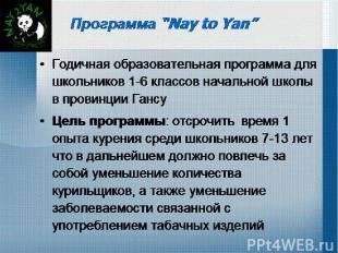 """Программа """"Nay to Yan"""" Годичная образовательная программа для школьников 1-6 кла"""
