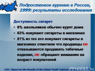 Подростковое курение в России, 1999: результаты исследования Доступность сигарет