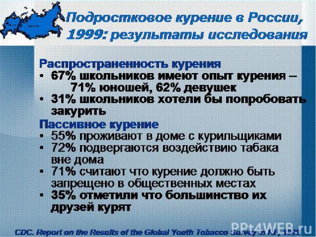 Подростковое курение в России, 1999: результаты исследования Распространенность курения 67% школьников имеют опыт курения – 71% юношей, 62% девушек 31% школьников хотели бы попробовать закурить Пассивное курение 55% проживают в доме с курильщиками 7…