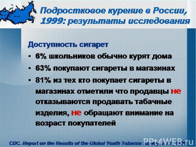 Подростковое курение в России, 1999: результаты исследования Доступность сигарет 6% школьников обычно курят дома 63% покупают сигареты в магазинах 81% из тех кто покупает сигареты в магазинах отметили что продавцы не отказываются продавать табачные …