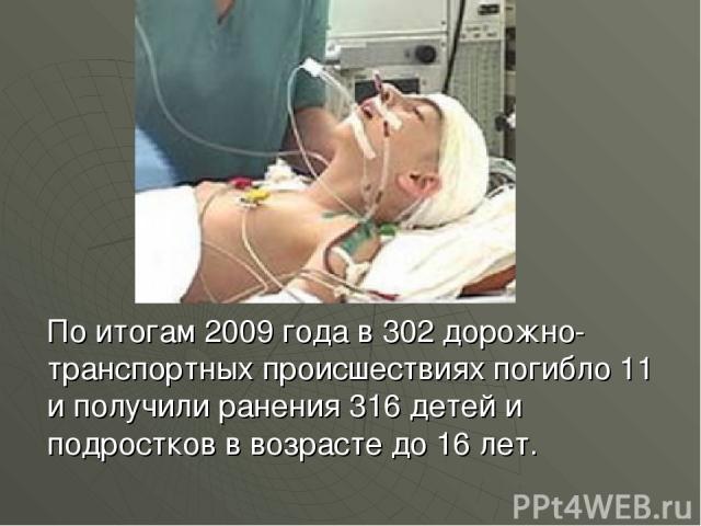 По итогам 2009 года в 302 дорожно-транспортных происшествиях погибло 11 и получили ранения 316 детей и подростков в возрасте до 16 лет.