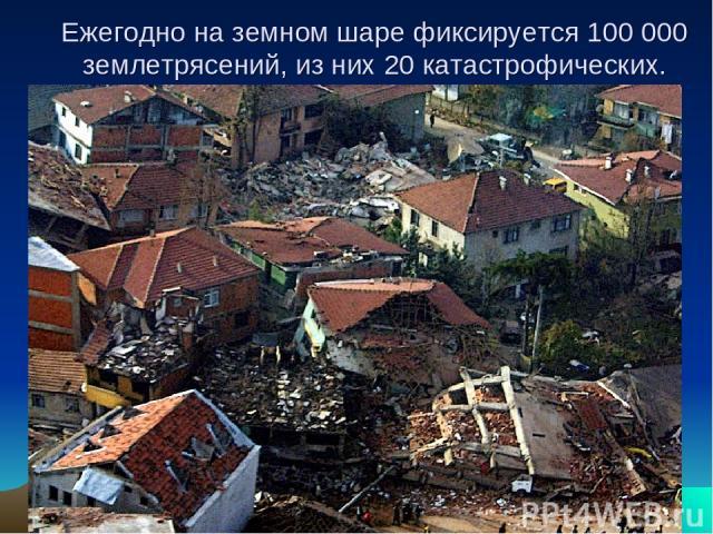 Ежегодно на земном шаре фиксируется 100 000 землетрясений, из них 20 катастрофических.