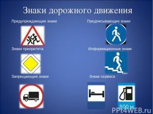 Знаки дорожного движения Предупреждающие знаки Предписывающие знаки Знаки приори
