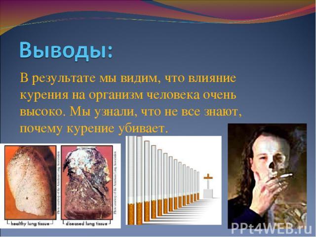 Влияние курения на организм человека реферат