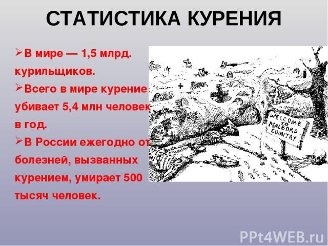 СТАТИСТИКА КУРЕНИЯ В мире — 1,5 млрд. курильщиков. Всего в мире курение убивает 5,4 млн человек в год. В России ежегодно от болезней, вызванных курением, умирает 500 тысяч человек.