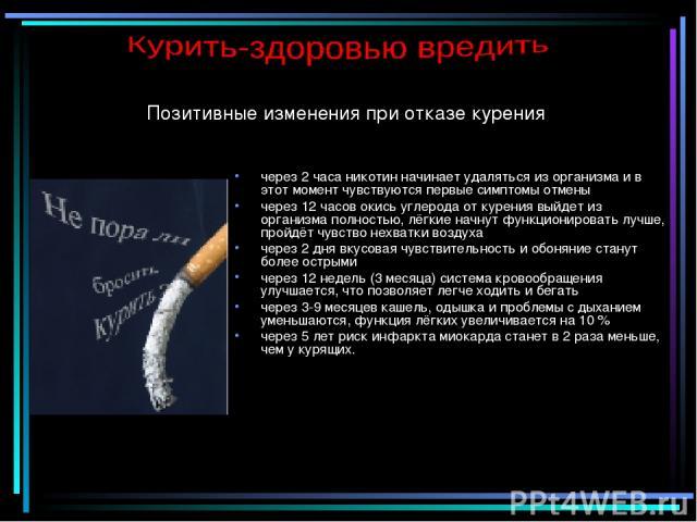 Позитивные изменения при отказе курения через 2 часа никотин начинает удаляться из организма и в этот момент чувствуются первые симптомы отмены через 12 часов окись углерода от курения выйдет из организма полностью, лёгкие начнут функционировать луч…