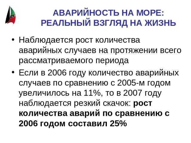 АВАРИЙНОСТЬ НА МОРЕ: РЕАЛЬНЫЙ ВЗГЛЯД НА ЖИЗНЬ Наблюдается рост количества аварийных случаев на протяжении всего рассматриваемого периода Если в 2006 году количество аварийных случаев по сравнению с 2005-м годом увеличилось на 11%, то в 2007 году наб…