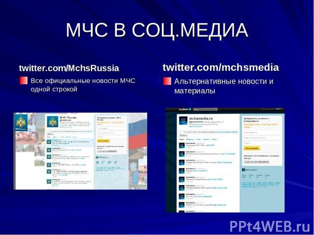 МЧС В СОЦ.МЕДИА twitter.com/MchsRussia Все официальные новости МЧС одной строкой twitter.com/mchsmedia Альтернативные новости и материалы