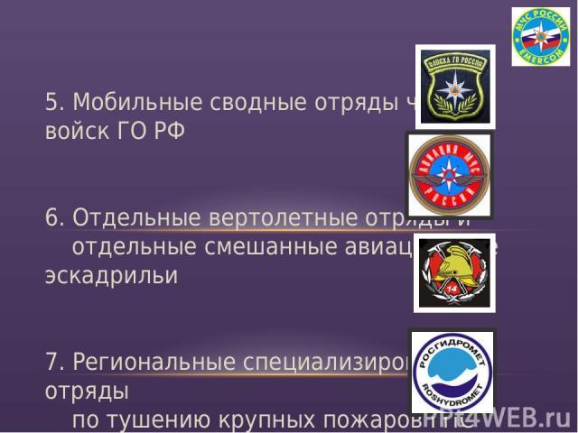 5. Мобильные сводные отряды частей войск ГО РФ 6. Отдельные вертолетные отряды и отдельные смешанные авиационные эскадрильи 7. Региональные специализированные отряды по тушению крупных пожаров ГПС 8. Силы и средства наблюдения и контроля