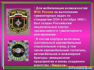 Для мобилизации возможностей МЧС России на выполнение гуманитарных задач по стан