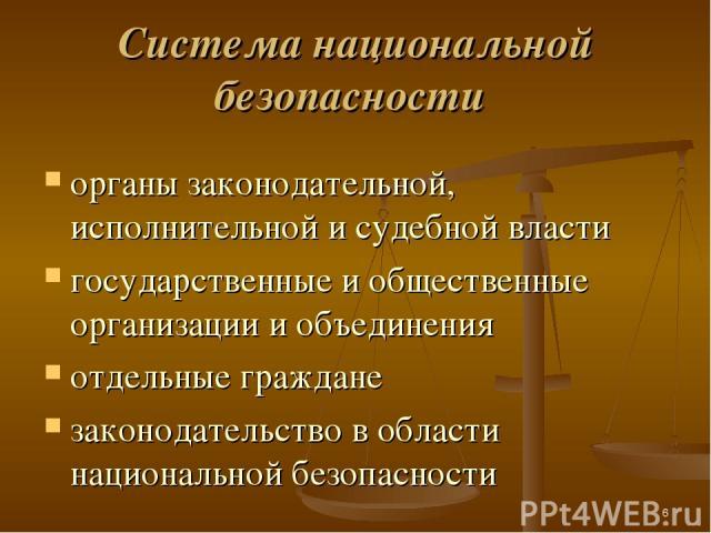 * Cистема национальной безопасности органы законодательной, исполнительной и судебной власти государственные и общественные организации и объединения отдельные граждане законодательство в области национальной безопасности