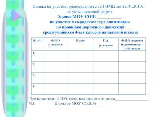 Заявка на участие предоставляется в ГИМЦ до 22.01.2010г. по установленной форме: