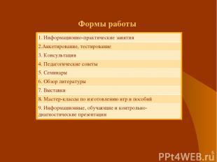 * Формы работы 1. Информационно-практические занятия 2.Анкетирование, тестирован