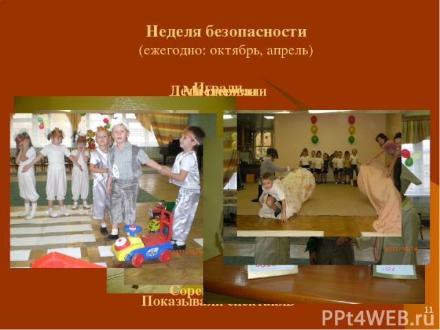 * Неделя безопасности (ежегодно: октябрь, апрель) Дети рисовали Играли Показывали спектакль Мастерили Соревновались