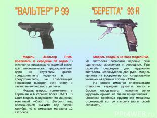 Модель «Вальтер Р-99» появилась в середине 90 годов. В отличии от предыдущих мод