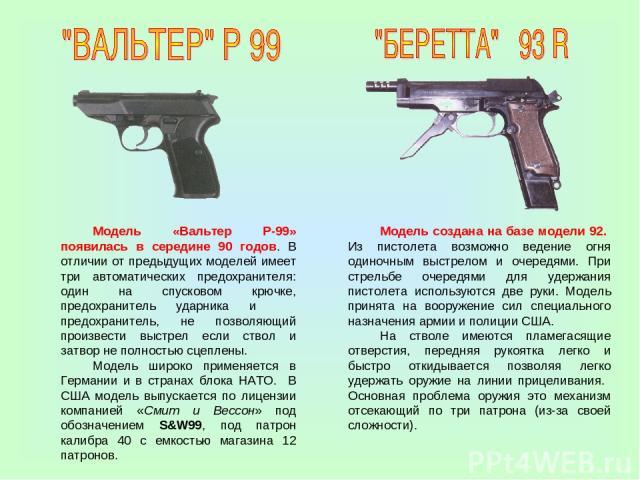 Модель «Вальтер Р-99» появилась в середине 90 годов. В отличии от предыдущих моделей имеет три автоматических предохранителя: один на спусковом крючке, предохранитель ударника и предохранитель, не позволяющий произвести выстрел если ствол и затвор н…
