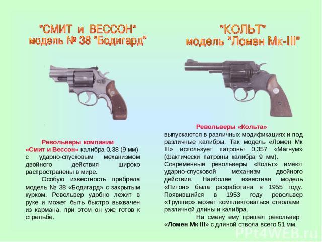 Револьверы компании «Смит и Вессон» калибра 0,38 (9 мм) с ударно-спусковым механизмом двойного действия широко распространены в мире. Особую известность прибрела модель № 38 «Бодигард» с закрытым курком. Револьвер удобно лежит в руке и может быть бы…