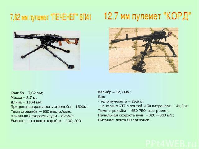 Калибр – 7,62 мм; Масса – 8,7 кг; Длина – 1164 мм; Прицельная дальность стрельбы – 1500м; Темп стрельбы – 650 выстр./мин.; Начальная скорость пули – 825м/с; Емкость патронных коробок – 100; 200. Калибр – 12,7 мм; Вес: - тело пулемета – 25,5 кг; - на…