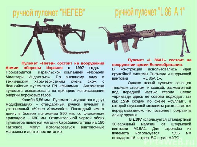 Пулемет «Негев» состоит на вооружении Армии обороны Израиля с 1997 года. Производится израильской компанией «Израэли Милитари Индастриз». По внешнему виду и техническим характеристикам очень схож с бельгийским пулеметом FN «Миними». Автоматика пулем…