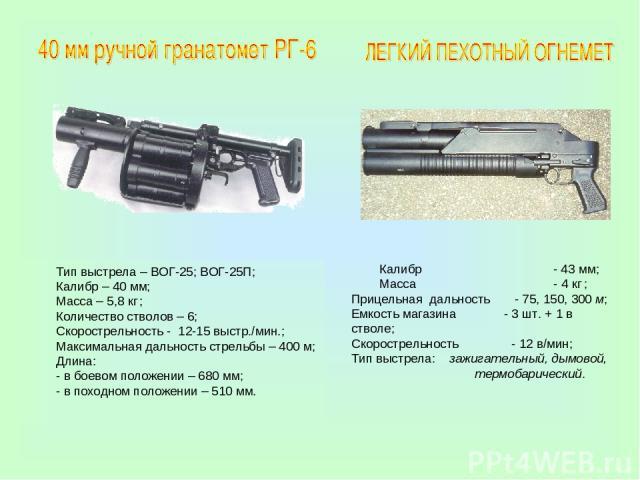 Калибр - 43 мм; Масса - 4 кг ; Прицельная дальность - 75, 150, 300 м; Емкость магазина - 3 шт. + 1 в стволе; Скорострельность - 12 в/мин; Тип выстрела: зажигательный, дымовой, термобарический. Тип выстрела – ВОГ-25; ВОГ-25П; Калибр – 40 мм; Масса – …