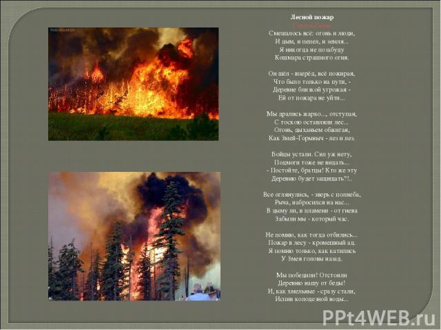 Лесной пожар Сергей Газин Смешалось всё: огонь и люди, И дым, и пепел, и земля... Я никогда не позабуду Кошмара страшного огня. Он шёл - вперёд, всё пожирая, Что было только на пути, - Деревне близкой угрожая - Ей от пожара не уйти... Мы дрались жар…